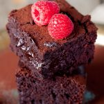 Slow cooker raspberry fudgy brownies recipe. Very simple and tasty dessert coked in a slow cooker (crock pot). #slowcooker #crockpot #fudge #dessert #easy #homemade