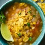 crock pot chickpea tortilla soup recipe. Chickpeas with vegetables and spices cooked in a slow cooker #crockpot #slowcooker #mexican #dinner #vegetarian #vegan #soup #chickpeas #tortilla