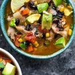 Slow cooker Mexican chicken stew recipe. Chicken thighs with vegetables, beans, and spices cooked in a slow cooker. #slowcooker #crockpot #chicken #stew #mexican #dinner #homemade