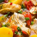 Crock pot Spanish chicken stew recipe. Boneless and skinless chicken thighs with vegetables cooked in a slow cooker. #slowcooker #crockpot #chicken #dinner #stew #vegetables #homemade