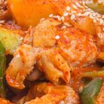 Instant pot spicy chicken stew (dakbokkeumtang). Bone-in chicken parts with vegetables and spices cooked in an electric pressure cooker. #instantpot #pressurecooker #chicken #easy #spicy #dinner #korean #homemade