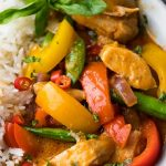 Pressure cooker spicy Thai chicken curry recipe. Chicken breasts with coconut milk and spices cooked in an electric instant pot. #instantpot #pressurecooker #chicken #thai #spicy #curry #dinner #easy #homemade
