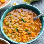 The best instant pot lentil soup recipe. Vegan, gluten free lentil soup cooked in an electric instant pot. #instantpot #pressurecooker #vegetarian #vegan #lentil #glutenfree #dinner #soup #homemade #healthy