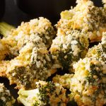 Air fryer panko crusted Parmesan broccoli. Healthy and yummy crusty appetizer fried in an air fryer. #airfryer #dinner #vegetarian #apptizers #crispy #healthy